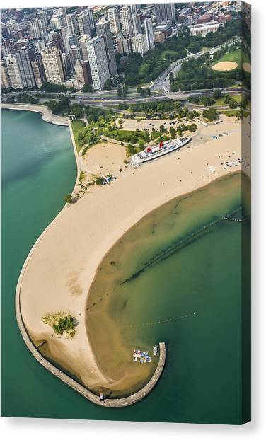Choppers Canvas Print - North Avenue Beach And Castaways Restaurant by Adam Romanowicz