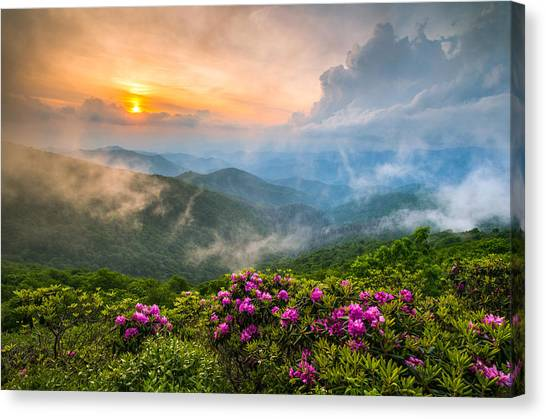 Mountain Sunrises Canvas Print - North Carolina Blue Ridge Parkway Spring Appalachian Mountains Nc by Dave Allen