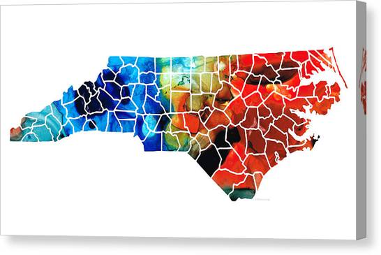 Charlotte Bobcats Canvas Print - North Carolina - Colorful Wall Map By Sharon Cummings by Sharon Cummings