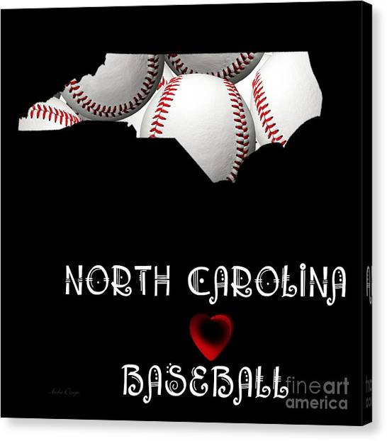 Andee Design Red Canvas Print - North Carolina Loves Baseball by Andee Design