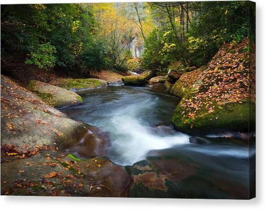 North Carolina Mountain River In Autumn Fall Foliage Canvas Print