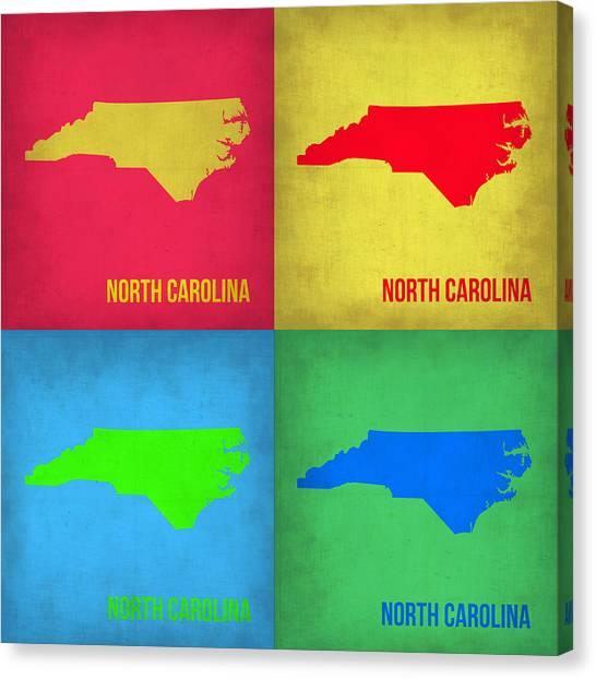North Carolina Canvas Print - North Carolina Pop Art Map 1 by Naxart Studio