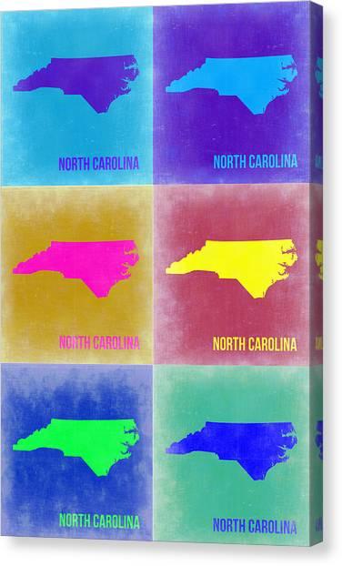 North Carolina Canvas Print - North Carolina Pop Art Map 2 by Naxart Studio
