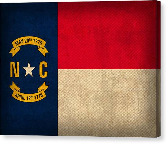 Charlotte Canvas Print - North Carolina State Flag Art On Worn Canvas by Design Turnpike