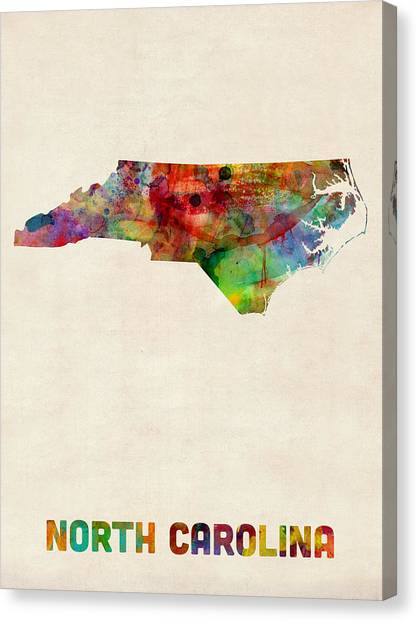 North Carolina Canvas Print - North Carolina Watercolor Map by Michael Tompsett