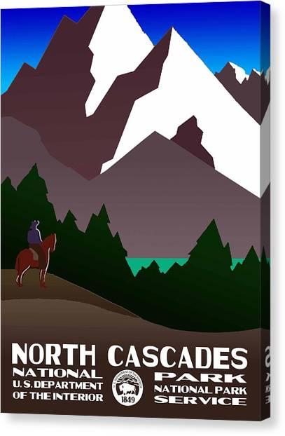 North Cascades National Park Vintage Poster Canvas Print