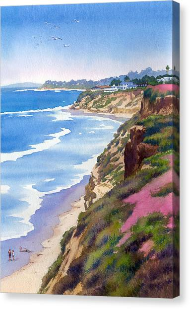 San Diego Canvas Print - North County Coastline Revisited by Mary Helmreich