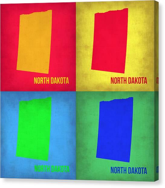 North Dakota Canvas Print - North Dakota Pop Art Map 1 by Naxart Studio