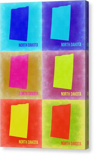 North Dakota Canvas Print - North Dakota Pop Art Map 2 by Naxart Studio