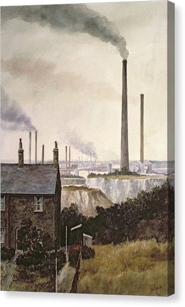 Pollution Canvas Print - North Kent Landscape  Nr Northfleet Gravesend by Vic Trevett