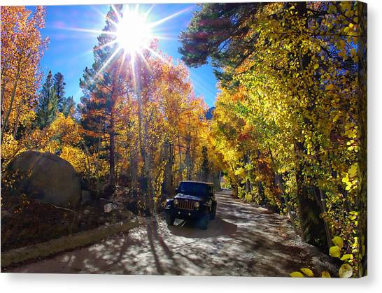 Bishops Canvas Print - North Lake Road Fall Color Jeep by Scott McGuire