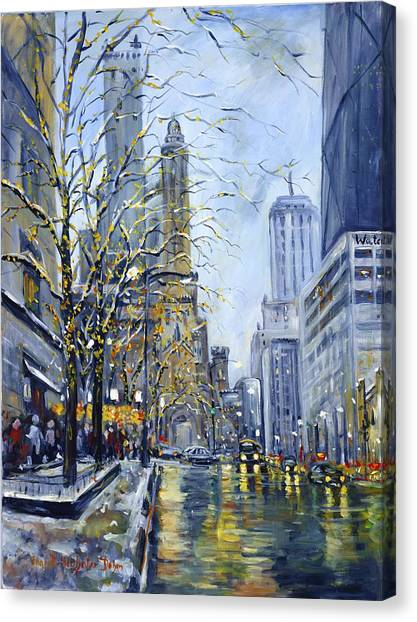 Michigan Canvas Print - North Michigan Avenue by Ingrid Dohm