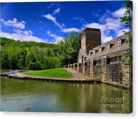 Rowboats Canvas Print - North Park Boathouse In Hdr by Amy Cicconi