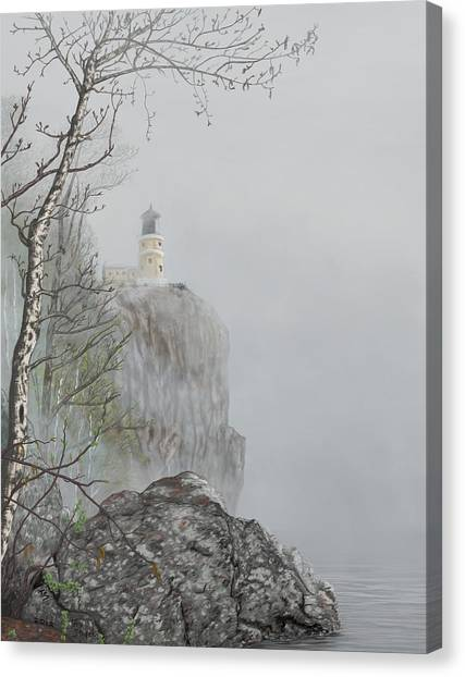 North Shore Lighthouse In The Fog Canvas Print
