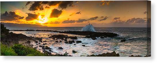 North Shore Sunset Crashing Wave Canvas Print
