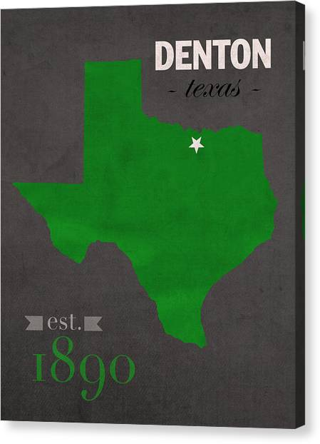 Texas State University Texas State Canvas Print - North Texas University Mean Green Denton College Town State Map Poster Series No 078 by Design Turnpike
