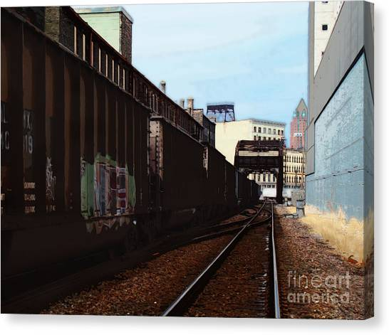 Northbound Freight To Milwaukee Canvas Print by David Blank