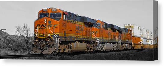 Trainspotting Canvas Print - Northern Arizona's Orange Lumbering Beast by Alan Marlowe