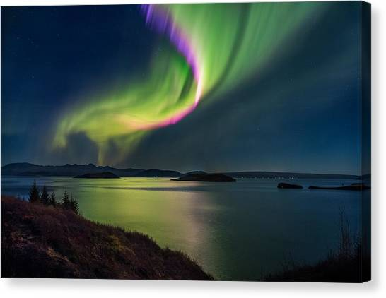 Northern Lights Over Thingvallavatn Or Canvas Print