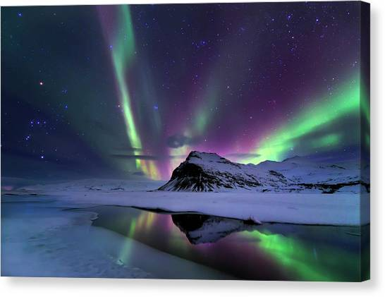 Aurora Borealis Canvas Print - Northern Lights Reflection by Andrea Auf Dem