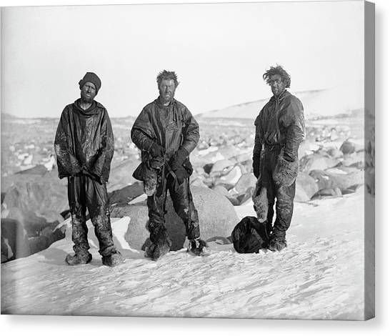 Ice Caves Canvas Print - Northern Party Antarctic Explorers by Scott Polar Research Institute