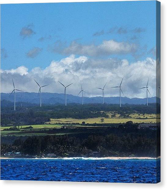Hawaii Canvas Print - Northshore Wind Farm #luckywelivehawaii by Brian Governale