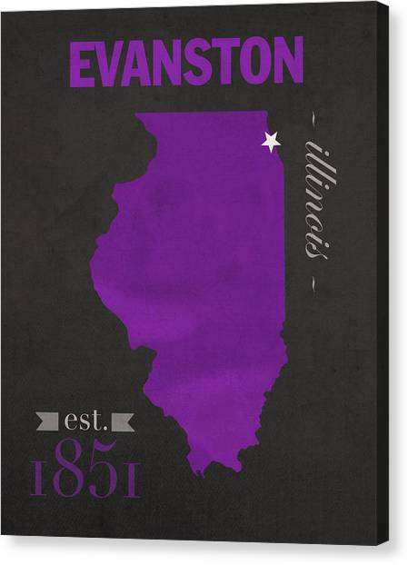 Illinois State University Canvas Print - Northwestern University Wildcats Evanston Illinois College Town State Map Poster Series No 080 by Design Turnpike