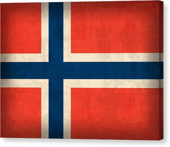 Distressed Canvas Print - Norway Flag Distressed Vintage Finish by Design Turnpike