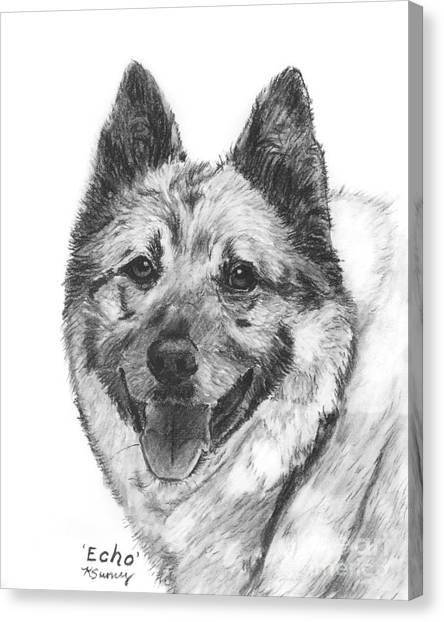 Norwegian Elkhound Sketch Canvas Print