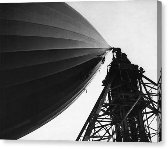 Blimps Canvas Print - Nose Of The Hindenburg by Underwood Archives