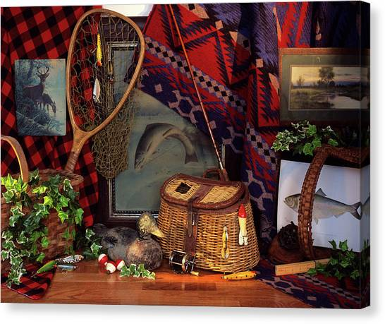 Angling Art Canvas Print - Nostalgic Still Life With Antique by Vintage Images