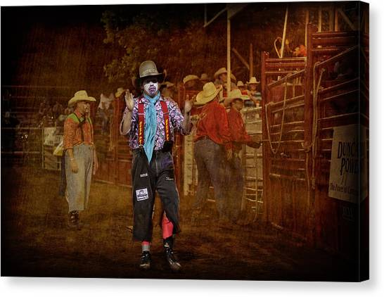 Rodeo Clown Canvas Print - Not Skeered Of A Little Bull by Toni Hopper