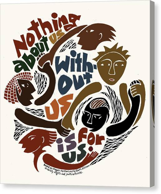 Rights Canvas Print - Nothing About Us by Ricardo Levins Morales