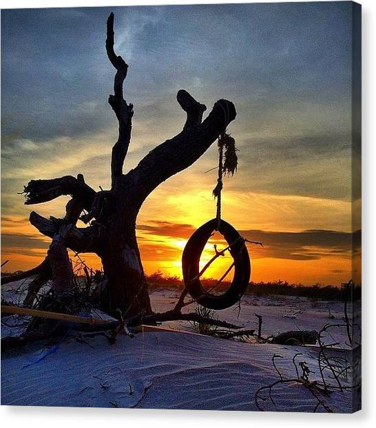 Swing Canvas Print - Sunset Swing by Dan Fischer