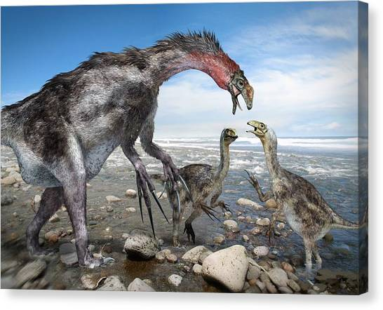 Nothronychus Dinosaur Family, Artwork Canvas Print by Science Photo Library
