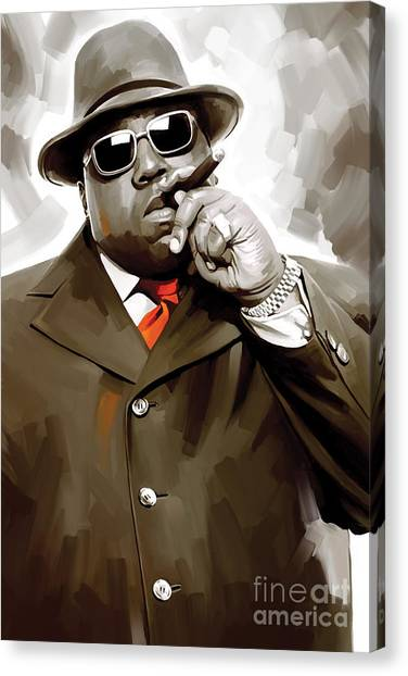 Hip Hop Canvas Print - Notorious Big - Biggie Smalls Artwork 3 by Sheraz A