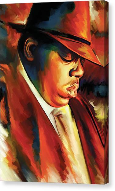 Hip Hop Canvas Print - Notorious Big - Biggie Smalls Artwork by Sheraz A