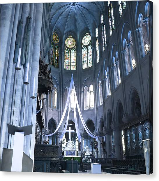 Notre Dame Altar Teal Paris France Canvas Print
