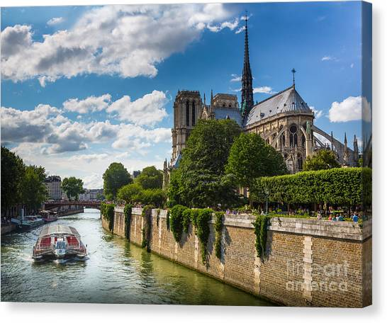 Europa Canvas Print - Notre Dame And The Seine River by Inge Johnsson