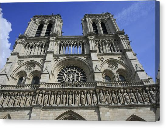 Notre Dame Cathedral Front View Canvas Print