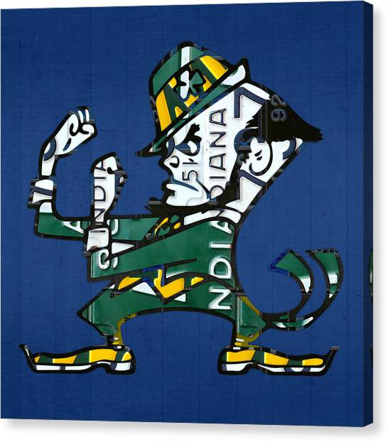 Acc Canvas Print - Notre Dame Fighting Irish Leprechaun Vintage Indiana License Plate Art  by Design Turnpike