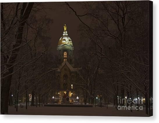 Notre Dame University Canvas Print - Notre Dame Golden Dome Snow by John Stephens