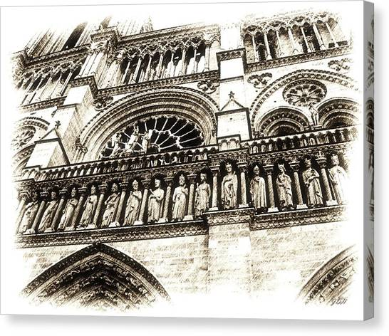 Notre Dame Pencil Canvas Print