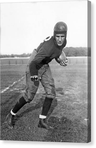 Football Players Canvas Print - Notre Dame Star Halfback by Underwood Archives