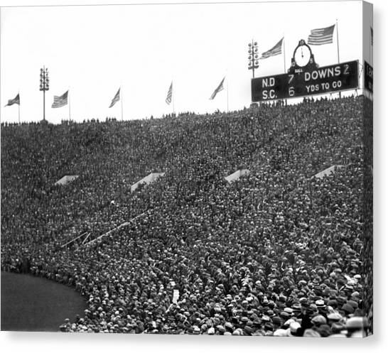 Soldier Field Canvas Print - Notre Dame-usc Scoreboard by Underwood Archives