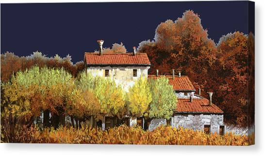 Wine Country Canvas Print - Notte In Campagna by Guido Borelli
