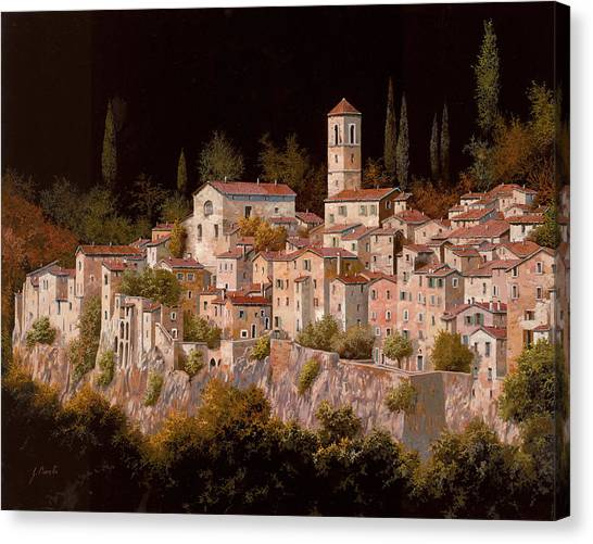 Cypress Canvas Print - Notte Senza Luna by Guido Borelli