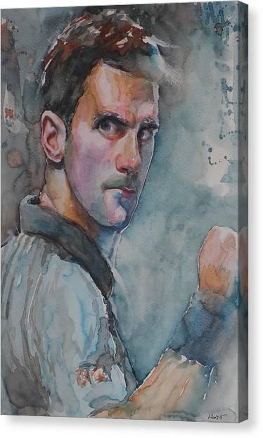 Novak Djokovic Canvas Print - Novak Djokovic - Portrait 1 by Baris Kibar