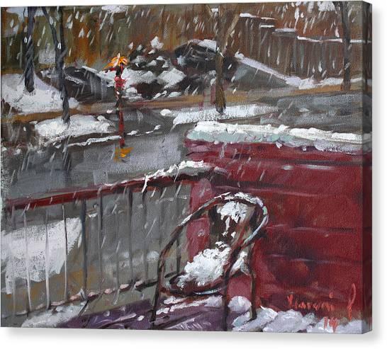 Snowfall Canvas Print - First Snowfall Nov 17 2014 by Ylli Haruni