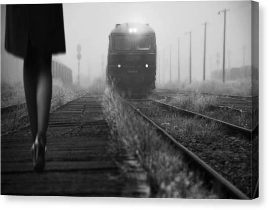 Railroads Canvas Print - November Passengers by Nicoleta Gabor
